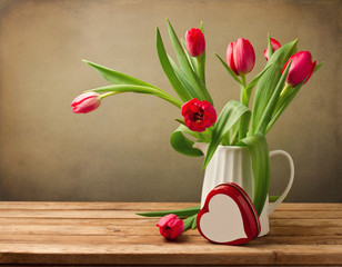 Beautiful tulip bouquet with heart shape box