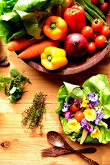 Fresh vegetables with salad
