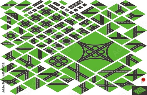 Vector isometric road map elements