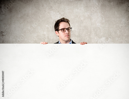 Young man watching - copyspace