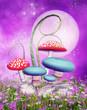 Kolorowe grzyby na różowej łące