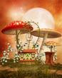 Kolorowa sceneria z grzybami i kwiatami