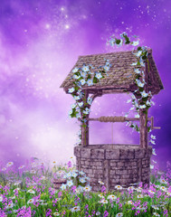 Stara studnia na fioletowej łące