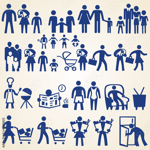 Family icons, people silhouettes set of various things