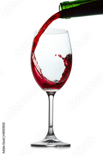 Red wine splashing. Isolated on white