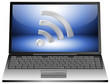 Laptop with wireless WiFi Wlan symbol
