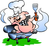 Vector illustration of an Chef Pig standing on a BBQ barrel