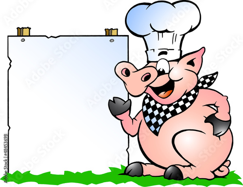 Illustration of an Chef Pig standing and pointing towards a sign