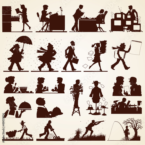 People silhouettes at office, home, restaurant, outdoor