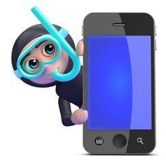 Scuba guy behind a smartphone
