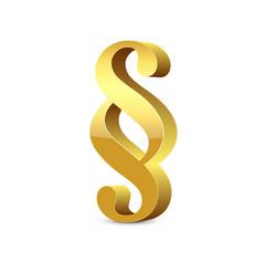 Paragraph – 3D Paragraphenzeichen in Gold mit Glanz