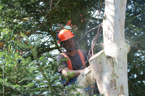 Man concentrating as wood chips fly