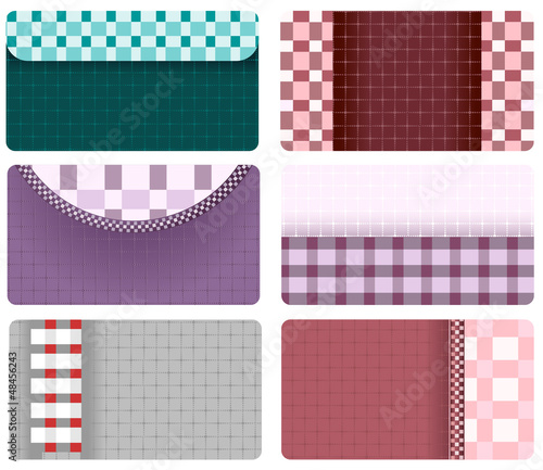 business cards of checkered fabric