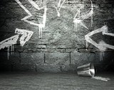 Graffiti wall with frame and arrows, street background - 48456452