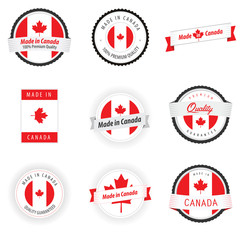 Set of Made in Canada labels, badges and stickers