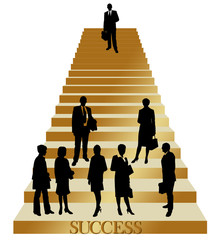 business people on golden stairs to the success