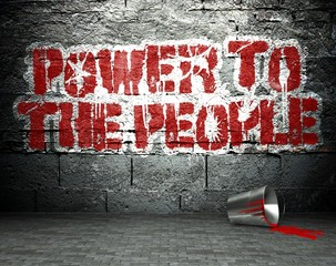 Graffiti wall with power to the people, street background