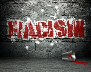 Graffiti wall with racism, street background