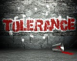 Graffiti wall with tolerance, street background poster