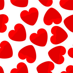 Seamless background of red hearts on a white background