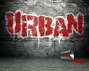 Graffiti wall with urban, street background