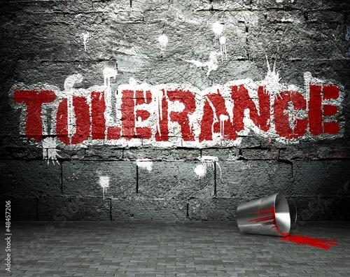 Graffiti wall with tolerance, street background