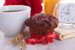 coffee and chocolate muffin