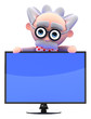 Scientist looks over widescreen television
