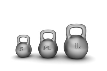 Three dumbbell weights