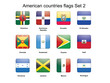 American countries flags set 2 vector illustration