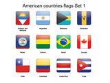 American countries buttons set 1 vector illustration poster
