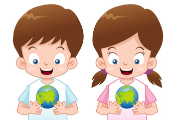 illustration of Kids with globe