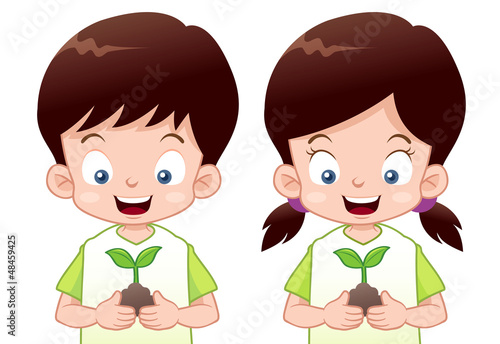 illustration of Kids is planting small plant