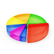 Colorful Glass Pie Chart isolated on white background