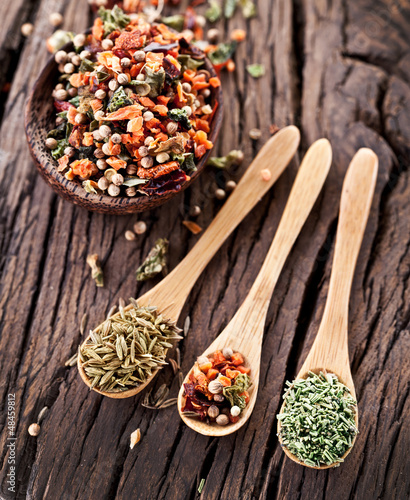 Variety of spices in the spoons.