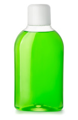 Bottle of green antibacterial mouthwash
