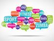 nuage de mots bulles : fitness zumba