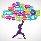 nuage de mots bulles silhouette : fitness, zumba