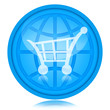 Shopping cart and globe