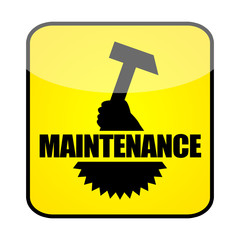 Maintenance sign with hammer and gearwheel