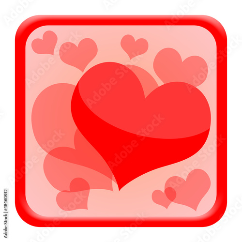 Valentines day icon with red hearts