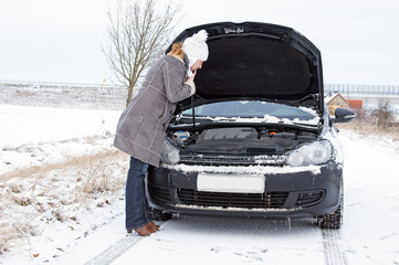 Car break - woman phoned the breakdown service