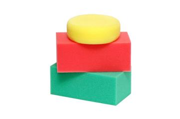 set sponge isolated on white background
