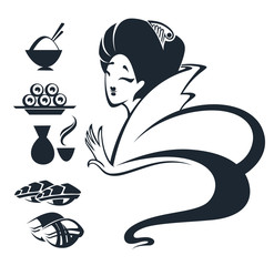 vector image of Japanese girl with traditional food