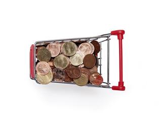 Einkaufswagen, Euromünzen, Kleingeld.