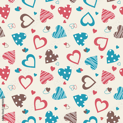 Retro valentine seamless pattern with hearts