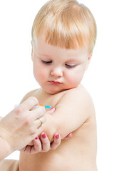 doctor vaccinating  baby boy isolated on a white background