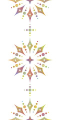 Colorful floral vertical seamless pattern over white background