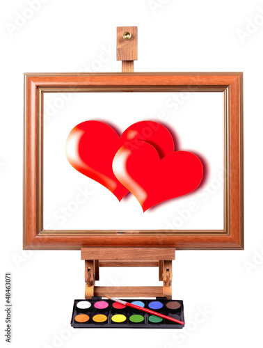 Frame with colorful canvas red Heart, tripod