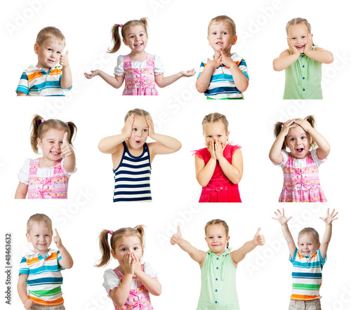collection of kids with different emotions isolated on white bac